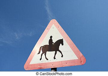 cheval, avertissement, cavaliers, devant, signe