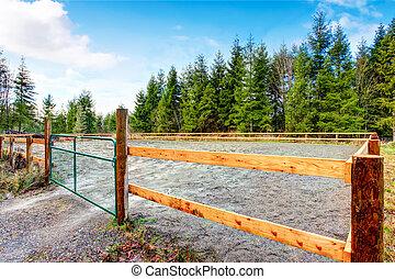 cheval, barrière, ferme, pays, bois, côté