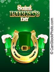 cheval, bière, or, heureux, patrick's, vecteur, illustration, chaussure, saint, chapeau, day.