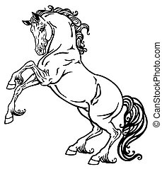 cheval, blanc, noir