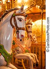 cheval, bois, vendange, paris, france, carrousel
