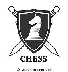 cheval, bouclier, club, étiquette, vecteur, échecs, gabarit, écusson, ou, icône