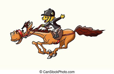 cheval brun, illustration, chat, vecteur, équitation, éclair, vitesse, dessin animé, galoper