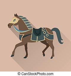 cheval brun, or, isolé, avatar, collar., icône