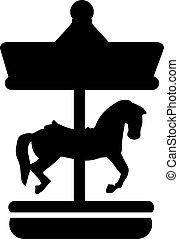 cheval, carrousel, icône