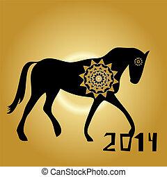 cheval, chinois, année, lunaire, nouveau, 2014, zodiaque