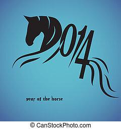 cheval, chinois, symbole, vect, année, 2014