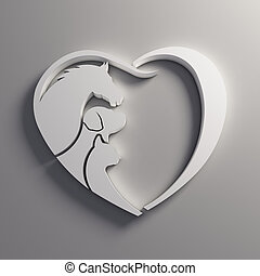 cheval, coeur, love., chien, chat