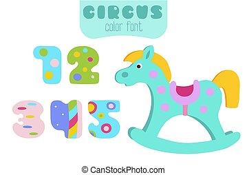 cheval, coloré, 4, 5, nombres, 3, 2, balancer, 1