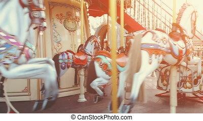 cheval, coloré, bois, vendange, cirque, carrousel