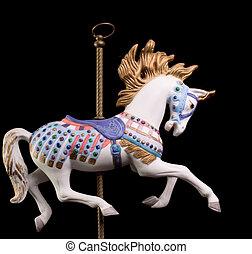 cheval, coloré, carrousel