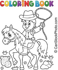 cheval, coloration, cow-boy, 1, thème, livre