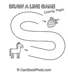 cheval, coloration, jeu gosses, livre, dessin animé