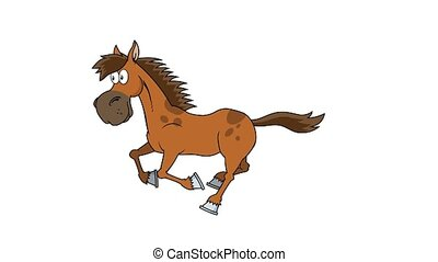 cheval, courant, dessin animé, caractère