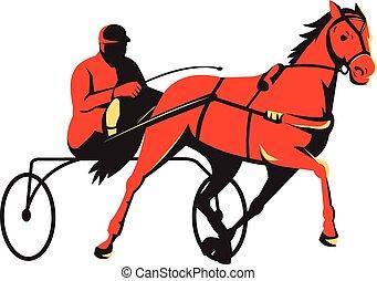 cheval, course harnais, retro, charrette