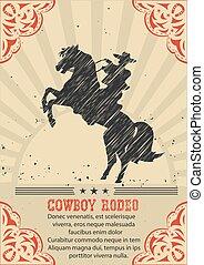 cheval, cow-boy, affiche, occidental, fond, sauvage, équitation, .vector