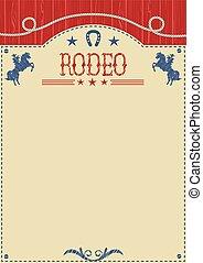 cheval, cow-boy, affiche, rodéo, américain, sauvage, équitation, text.cowboy