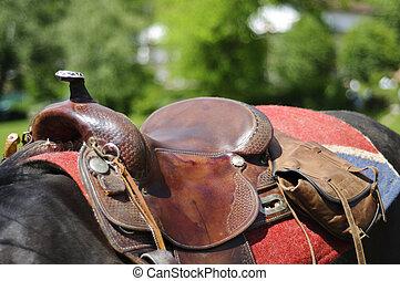 cheval, détail, selle