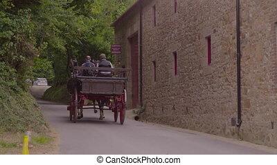 cheval dessiné, conduite, musée, chariot, loin, hamptonne