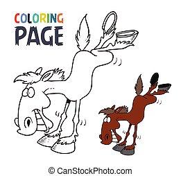 cheval, dessin animé, page, coloration