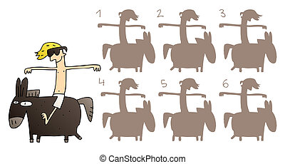 cheval, droit, answer:, game., image!, miroir, no., illustration, trouver, visuel, vecteur, eps8, mode!, ombre, image, task:, 1.