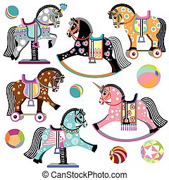 cheval, ensemble, dessin animé, jouets