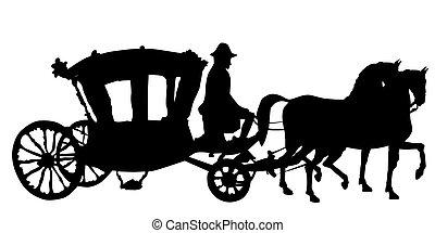 cheval, et, voiture, rococo