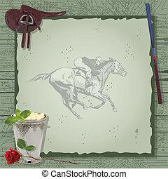 cheval, fête, invitation., courses