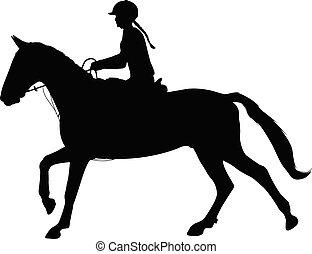 cheval, femme, équestre, dressage, jeune, silhouette., sport., équitation
