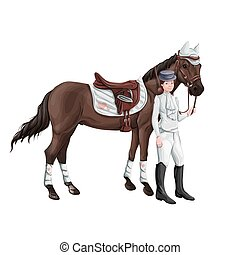 cheval, femme, compostage, girl, selle, bottes, -, wagtrap, cavalier, casquette, sauter, munitions, licou, jacket., cylindre, bride, casque