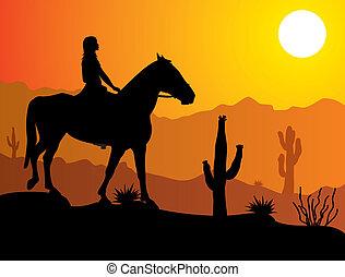 cheval, femme, désert
