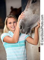 cheval, femme, elle