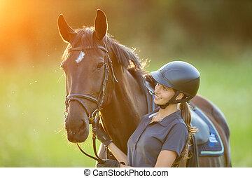 cheval, femme, elle, lumière, jeune, soir, coucher soleil, cavalier