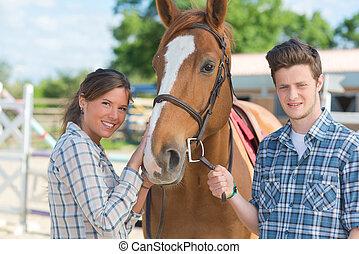 cheval, femme, jeune homme