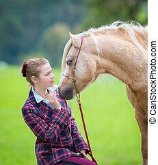 cheval, femme, jeune