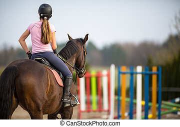 cheval, femme, jeune, sauter, exposition