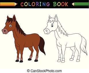 cheval, ferme, trouver, jeu, image, children., education, correct