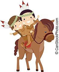 cheval, gosses, stickman, cavalcade, américain, indigène