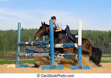 cheval, h, -, jeune, sauter, équitation, girl