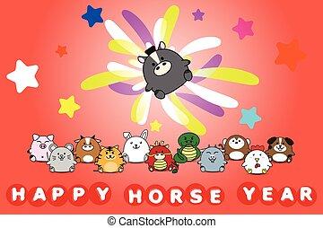 cheval, horoscope chinois, symbole, illustration, vecteur, conception, animal, année, nouveau, zodiaque, dessin animé, heureux