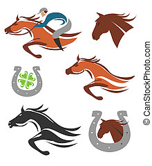 cheval, icônes, courses