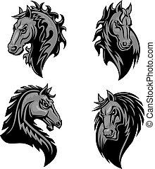 cheval, icônes, héraldique, puissant, tête, furieux