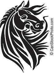 cheval, illustration., tribal, -, style, vecteur