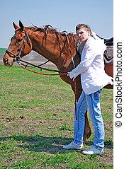 cheval, jeune homme