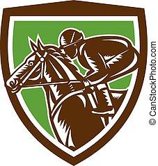 cheval, jockey, bouclier, retro, courses, côté