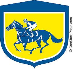 cheval, jockey, bouclier, retro, courses, vue côté