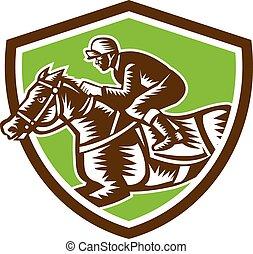 cheval, jockey, bouclier, woodcut, retro, courses