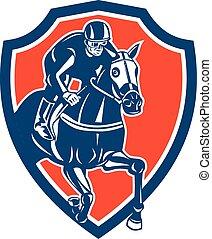 cheval, jockey, courses, bouclier, retro