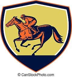 cheval, jockey, courses, bouclier, woodcut
