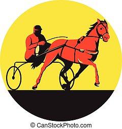 cheval, jockey, harnais, retro, cercle, courses